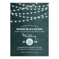 Chic modern summer wedding design with glowing string lights and classy fonts on a faux watercolor texture background