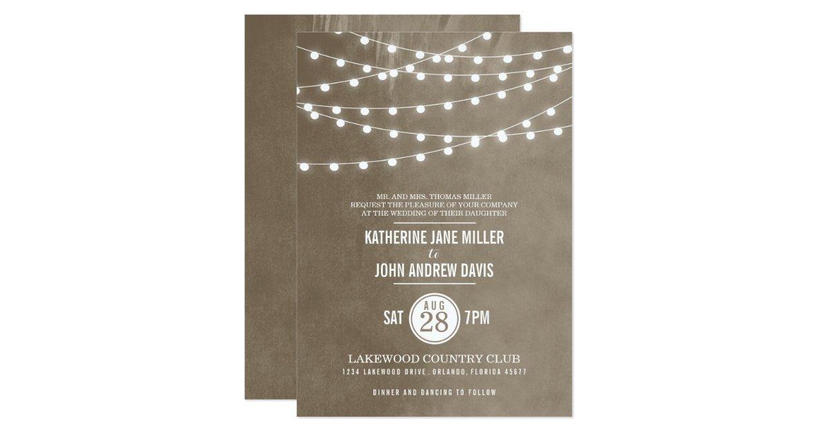 String Lights Wedding Invitation : Summer String Lights Wedding Invitation Zazzle