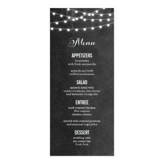 Summer String Lights Wedding Menu Card Personalized Invitation