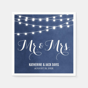 Summer String Lights Wedding Monogram Napkin