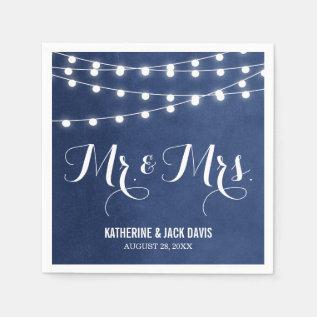 Summer String Lights Wedding Monogram Napkin at Zazzle