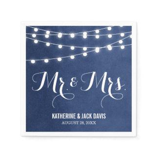Summer String Lights Wedding Monogram Napkin
