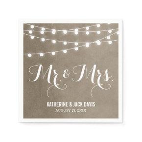 Summer String Lights Wedding Monogram Standard Cocktail Napkin