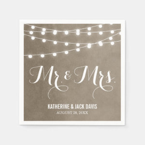 Summer String Lights Wedding Monogram Paper Napkin