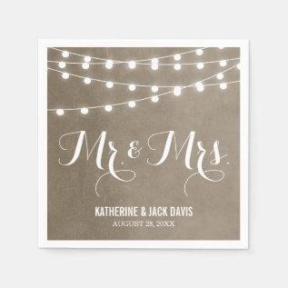 Summer String Lights Wedding Monogram Paper Napkin at Zazzle