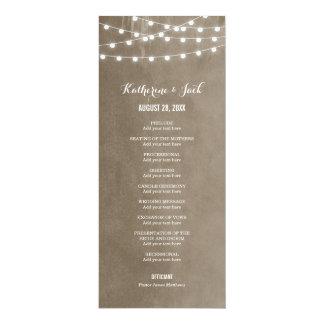 Summer String Lights Wedding Program Card