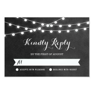 Summer String Lights Wedding RSVP Card