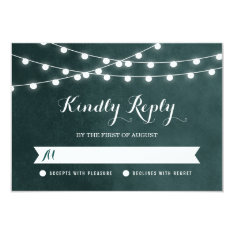"Summer String Lights Wedding RSVP Card 3.5"" X 5"" Invitation Card at Zazzle"