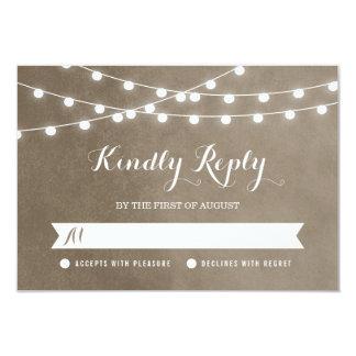 Summer String Lights Wedding RSVP Card Custom Invitations