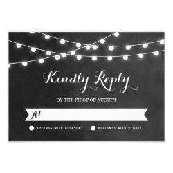 "Summer String Lights Wedding RSVP Card 3.5"" X 5"" Invitation Card"