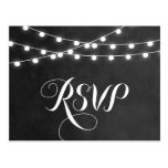 Summer String Lights Wedding Rsvp Postcard at Zazzle