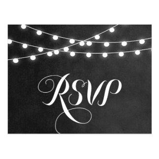 Summer String Lights Wedding RSVP Postcard