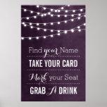 Summer String Lights Wedding Sign Print