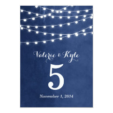 Summer String Lights Wedding Table Numbers 5x7 Paper Invitation Card at Zazzle