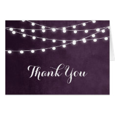 Summer String Lights Wedding Thank You Card