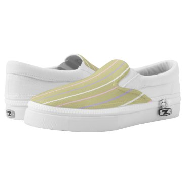 Beach Themed Summer stripe collors, san and  pink lilac yellow Slip-On sneakers