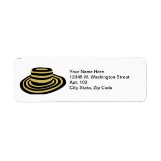 Summer Striped Beach Striped Straw Hat Label