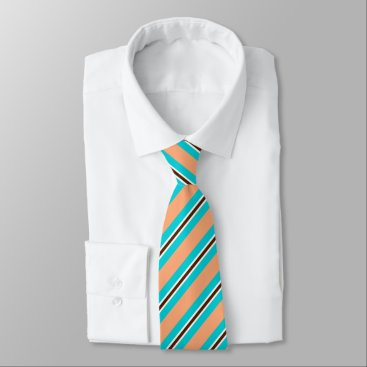 Beach Themed Summer stripes - aqua, coral and brown neck tie