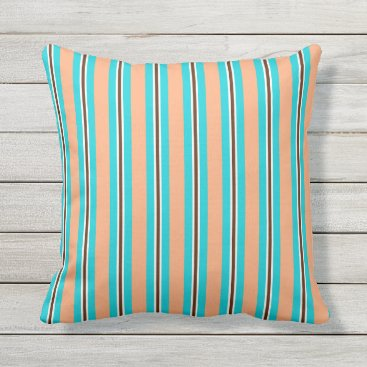 Beach Themed Summer stripes - aqua, coral and brown outdoor pillow