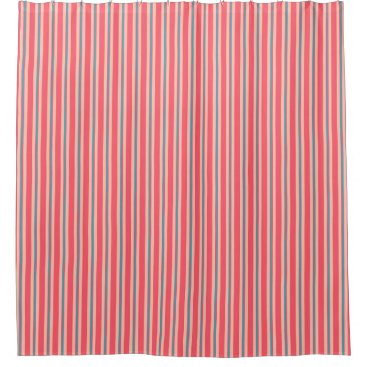 Beach Themed Summer stripes - coral and turquoise shower curtain