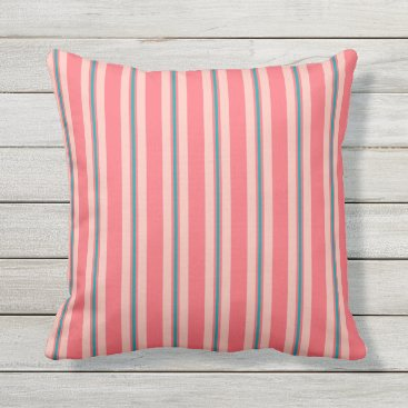 Beach Themed Summer stripes - coral and turquoise throw pillow