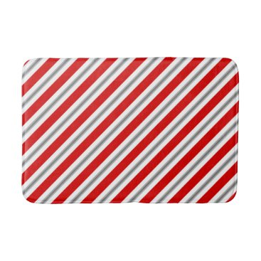 Beach Themed Summer stripes - deep red white and gray / grey bath mat