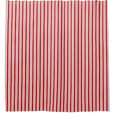 Beach Themed Summer stripes - deep red white and gray / grey shower curtain