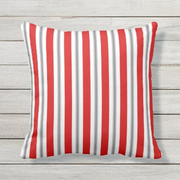 Beach Themed Summer stripes - deep red white and gray / grey throw pillow