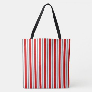 Beach Themed Summer stripes - deep red white and gray / grey tote bag