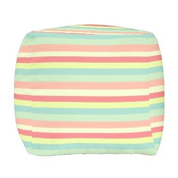 Beach Themed Summer Stripes Outdoor Pouf