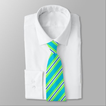 Beach Themed Summer stripes - turquoise and lime green tie