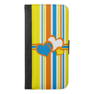 Summer stripes with hearts iPhone 6/6s plus wallet case