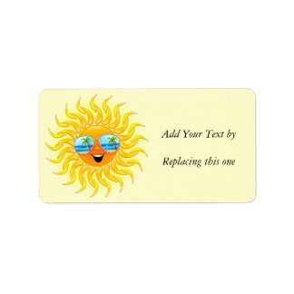 Summer Sun Cartoon with Sunglasses Address Label