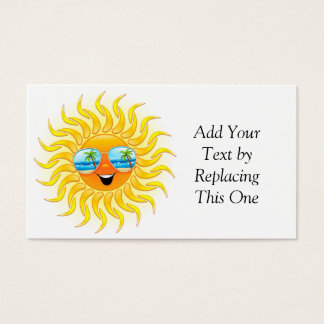 Summer Sun Cartoon with Sunglasses business card