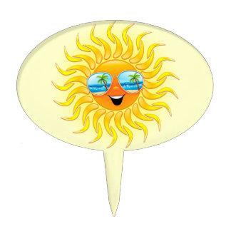 Summer Sun Cartoon with Sunglasses cakepick