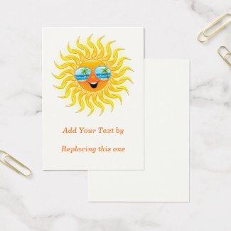 Summer Sun Cartoon with Sunglasses Chubby 100 pack Business Card