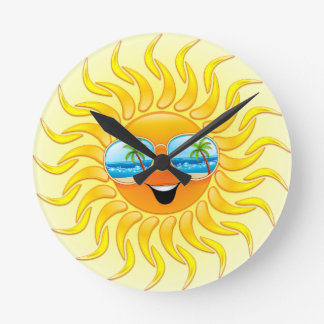 Summer Sun Cartoon with Sunglasses clock