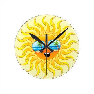Summer Sun Cartoon with Sunglasses clock