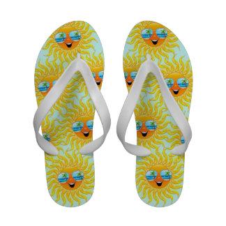 Summer Sun Cartoon with Sunglasses Flip_Flops Flip-Flops