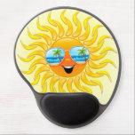 "Summer Sun Cartoon with Sunglasses gel mousepad<br><div class=""desc"">Funny and Happy Sun Cartoon with Tropical Beach Reflexion on Sunglasses!</div>"