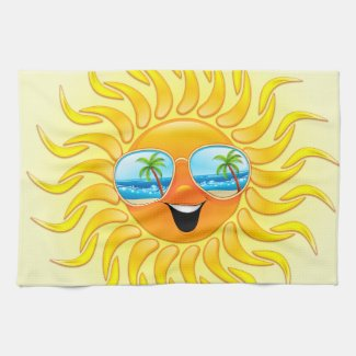 Summer Sun Cartoon with Sunglasses kitchen towels