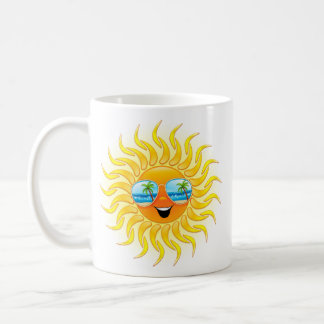 Summer Sun Cartoon with Sunglasses mug
