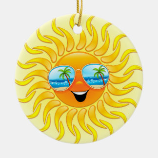 Summer Sun Cartoon with Sunglasses ornament