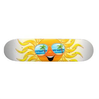 Summer Sun Cartoon with Sunglasses Skateboards