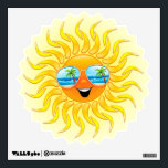 "Summer Sun Cartoon with Sunglasses wall decal<br><div class=""desc"">Funny and Happy Sun Cartoon with Tropical Beach Reflexion on Sunglasses!</div>"