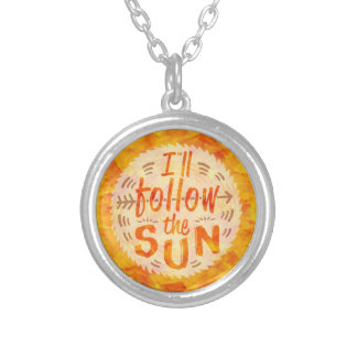 Summer Sun Cute Bohemian Sunshine Typography Silver Plated Necklace