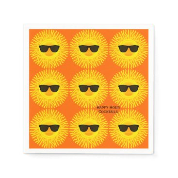 Beach Themed Summer Sun Face Optional Happy Hour Cocktail Words Napkin
