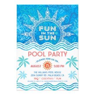Summer Sun Party Invitation Card