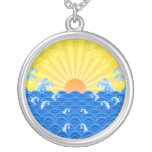 Summer Sun Summer Waves Round Pendant Necklace