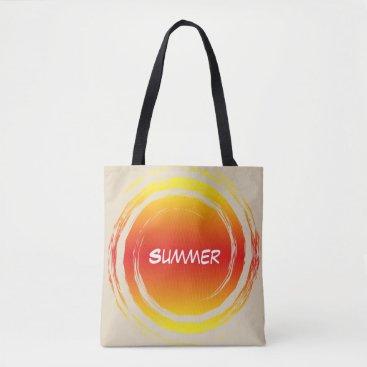 Beach Themed Summer Sun Swirling Orange Yellow Circle Tote Bag
